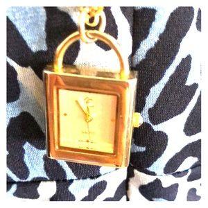 Gold tone watch necklace